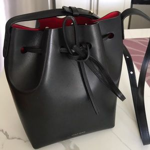 Mansur Gavriel red lined mini bucket bag